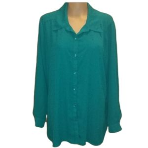 George Sparkly Green Button Up Blouse (18-20W)